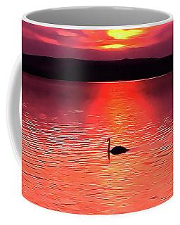Swan In The Sunset Painting Coffee Mug