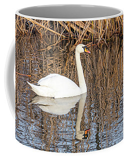 Swan Swims On The River  Coffee Mug