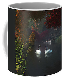 Swans In A River Near Home Coffee Mug