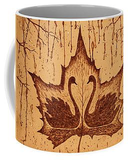 Coffee Mug featuring the painting Swans  In Love Original Coffee Painting by Georgeta Blanaru