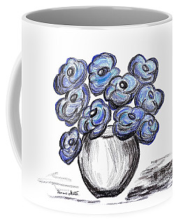 Coffee Mug featuring the painting Sweet Blue Poppies by Ramona Matei