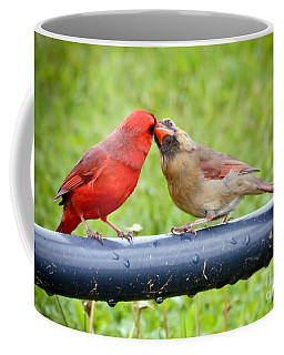 Sweet Cardinal Couple Coffee Mug by Kerri Farley