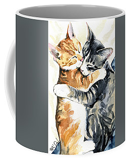 Coffee Mug featuring the painting Sweet Dreams - Cat Painting by Dora Hathazi Mendes