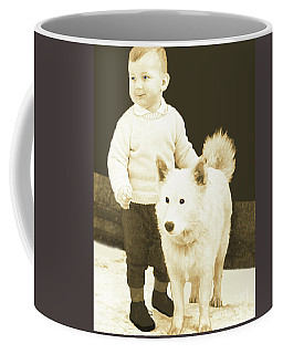 Sweet Vintage Toddler With His White Mutt Coffee Mug