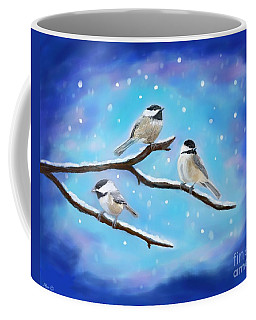 Coffee Mug featuring the painting Sweetest Winter Birdies by Leslie Allen