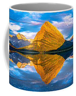 Coffee Mug featuring the photograph Swiftcurrent Lake Sunrise Panorama by Dustin  LeFevre