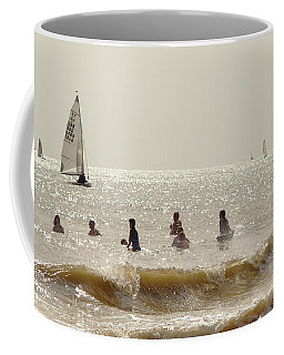 Swimmers And Yachts Coffee Mug