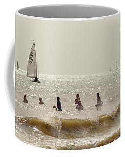Swimmers And Yachts Coffee Mug