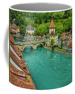 Swimming The River Aare , Bern  Coffee Mug by Connie Handscomb
