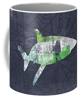 Swimming With Sharks 2- Art By Linda Woods Coffee Mug