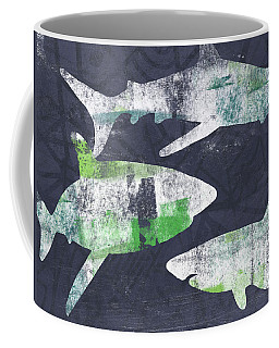 Swimming With Sharks- Art By Linda Woods Coffee Mug