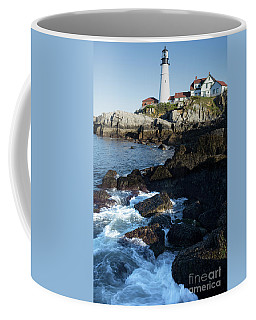 Swirling Waves At Portland Head Light, Cape Elizabeth Me #30107 Coffee Mug