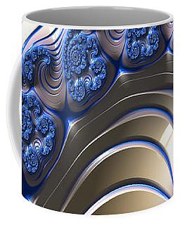 Coffee Mug featuring the digital art Swirly Blue Fractal Art by Bonnie Bruno