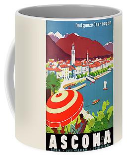 Coffee Mug featuring the mixed media Switzerland Ascona Vintage Travel Poster Restored by Carsten Reisinger
