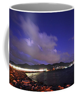Sxm Saint Martin Bridge Lit Up At Night Light Trails Coffee Mug