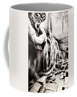 Coffee Mug featuring the painting Sycamore Tree Overgrowing Ruins- Cambodia by Ryan Fox