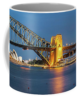 Coffee Mug featuring the photograph Sydney Harbour At Dusk by James Udall