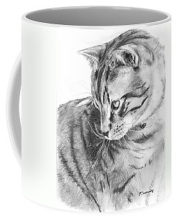 Tabby Cat In Profile Drawing Coffee Mug