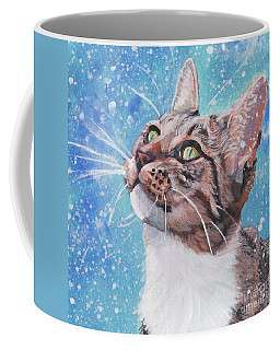 Coffee Mug featuring the painting Tabby Cat In The Winter by Lee Ann Shepard