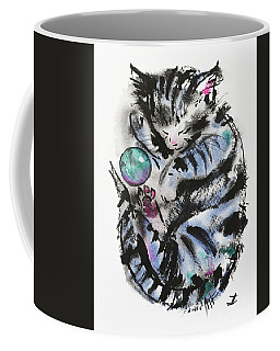 Tabby Dreams Coffee Mug by Zaira Dzhaubaeva