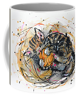Tabby Kitten Playing With Yarn Clew  Coffee Mug by Zaira Dzhaubaeva