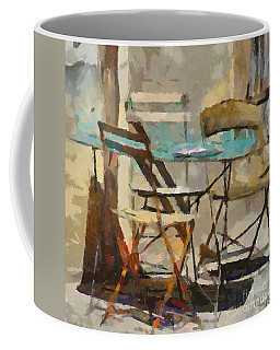 Coffee Mug featuring the painting Table Bleue Au Soleil by Dragica  Micki Fortuna