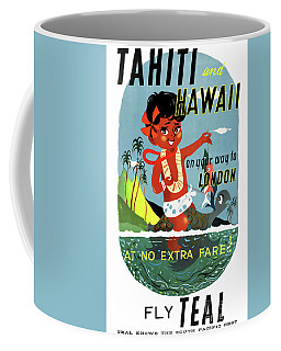 Tahiti Hawaii Vintage Travel Poster Restored Coffee Mug