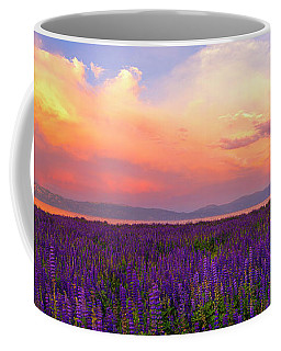 Tahoe City Lupine Sunset By Brad Scott Coffee Mug