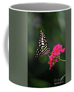 Tailed Jay Butterfly -graphium Agamemnon- On Pink Flower Coffee Mug
