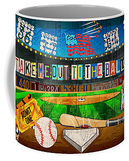 Take Me Out To The Ballgame Recycled Vintage License Plate Art Collage Coffee Mug