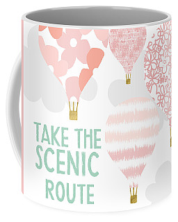 Take The Scenic Route Pink- Art By Linda Woods Coffee Mug