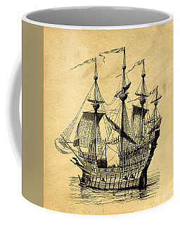 Coffee Mug featuring the drawing Tall Ship Vintage by Edward Fielding