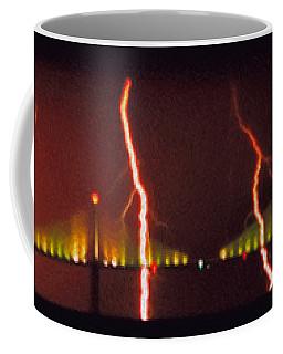 Tampa Bay Lightning Over The Skyway Bridge Coffee Mug