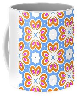 Tangerine And Sky Floral Pattern- Art By Linda Woods Coffee Mug