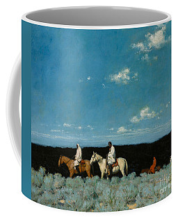 Coffee Mug featuring the painting Taos Indians Homeward Bound by E  Martin Hennings