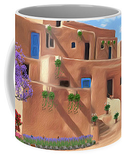 Taos Pueblo With Flowers Coffee Mug by Walter Colvin