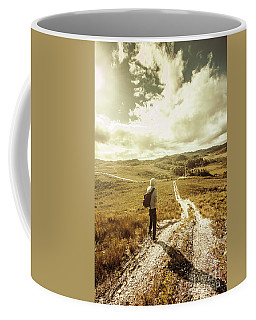 Tasmanian Man On Road In Nature Reserve Coffee Mug