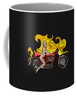 Tattoo Pinup Girl On Her Motorcycle Coffee Mug