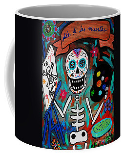 Coffee Mug featuring the painting Te Amo Painter Dia De Los Muertos by Pristine Cartera Turkus