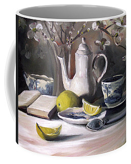 Coffee Mug featuring the painting Tea With Lemon by Nancy Griswold