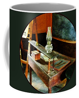 Teacher's Desk With Hurricane Lamp Coffee Mug