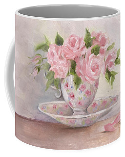 Coffee Mug featuring the painting Teacup And Saucer Rose Shabby Chic Painting by Chris Hobel