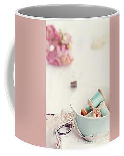 Teacup Full Of Vintage Spools Of Thread Coffee Mug