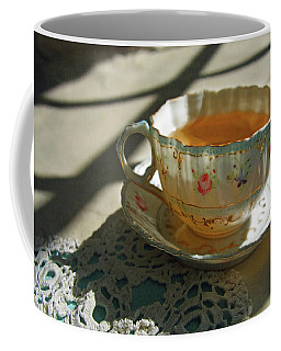 Coffee Mug featuring the photograph Teacup On Lace by Brooke T Ryan