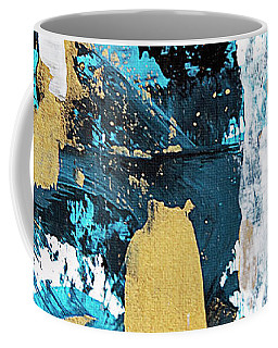 Coffee Mug featuring the painting Teal Abstract by Christina Rollo