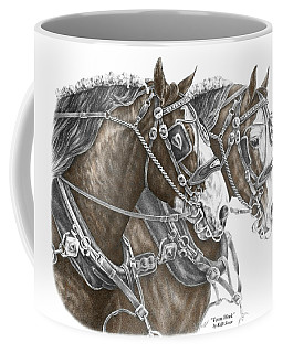 Team Work - Clydesdale Draft Horse Print Color Tinted Coffee Mug