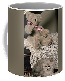 Teddy Bear And Ccat Coffee Mug