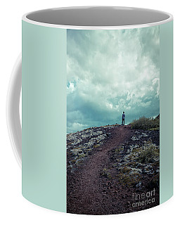 Coffee Mug featuring the photograph Teenager On A Hiking Trail In Iceland by Edward Fielding