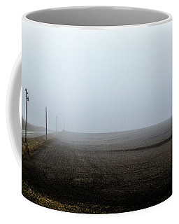 Telephone Poles Along A Foggy Field Coffee Mug