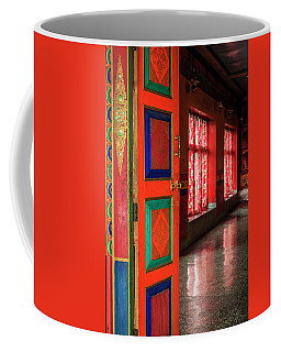 Coffee Mug featuring the photograph Temple Door by Alexey Stiop